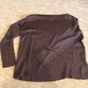 VINCE silk boatneck. Dark maybe. Purpley silk. Sm